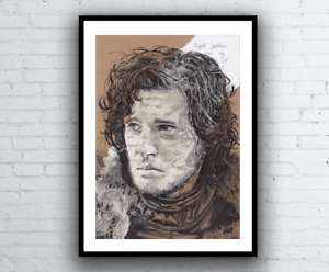 drawing game of thrones Details About Jon Snow Nights Watch Vows Original Portrait Drawing Game Of Thrones Artwork