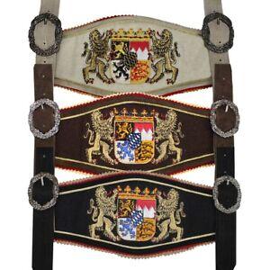 564399f4ef8e3 Details zu GermanWear, Trachten Hosenträger lederhosen mit Bayerischem  Wappen-stickerei