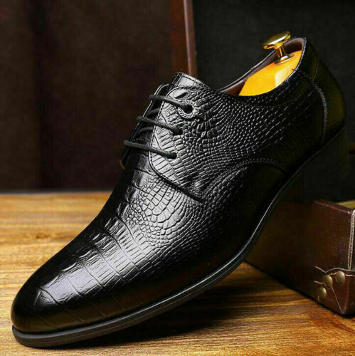 2020 Mens Genuine Leather Oxfords Pointed Toe Lace Up Dress Formal Wedding Shoes