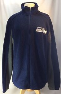 new concept 12e4a 09bba Details about Seattle Seahawks Knit Full Zip Sweater Men's Large Fleece  Lined Embroidered NFL