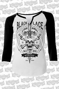 e6673311 Lethal Angel Wings Black Lace Riders Skull Punk Goth Baseball Tee ...