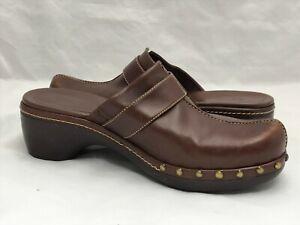 ECCO-Brown-Leather-Shoes-Women-039-s-Size-EUR-39-US-7-Mule-Clog-Bronze-Stud-Trims