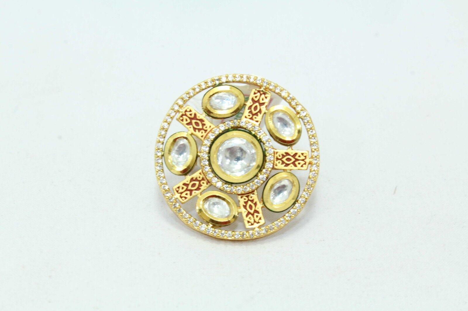 Fashion white Crystal Polki Bridal jadau women Ring gold Plated adjustable size