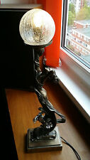 Art Deco Style Table Lamp Crackled Globe Shade Glamour Lady Dancer