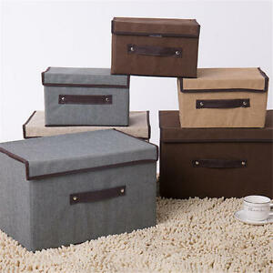 Image Is Loading 2pcs Cotton And Linen Storage Box With Cap