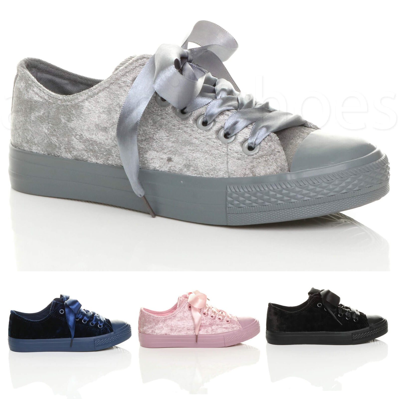 Femme Femmes Ruban Lacets Velours Baseball Low Chaussures Top ESCARPINS Baskets Chaussures Low Taille e93aae