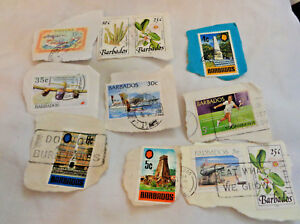 Lot-of-10-Postage-Stamps-Barbados-Used-Caribbean-Cenotaph-Royal-Viking-Queen