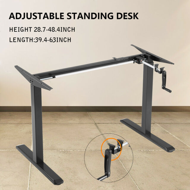 Height Width Adjustable Sit Stand Standing Desk Frame W/ Manual Crank  Ergonomic