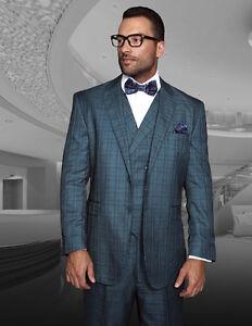 New-Statement-3-PC-Regular-Fit-Teal-Plaid-Italian-Suit-Vest-Pants-Style-TZ942