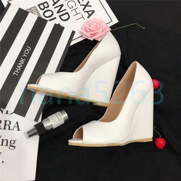 Weiß Damen Peep Toe Wedge Hohe Keilabsatz Pumps Schuhe Sexy Gr. 34- 46 47