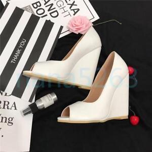 3e26340ff60fd Details zu Weiß Damen Peep Toe Wedge Hohe Keilabsatz Pumps Schuhe Sexy Gr.  34- 46 47