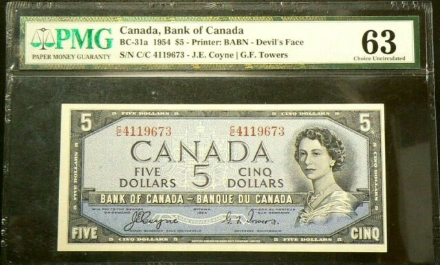 1954 Canada $5 Dollars PMG UNC 63 Devil's Face BC-31a #6789