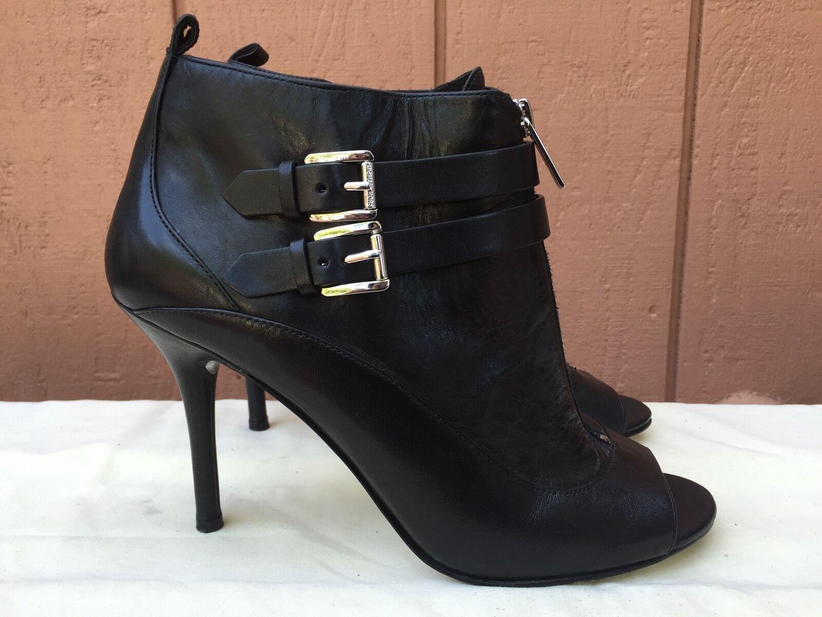 Michael Kors Black Leather Open Toe Ankle Boot Bootie Sandal Heels Pump US 9.5 M