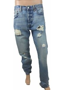 Levis-501-Mens-Jeans-Cotton-Button-Fly-Washed-Ripped-Straight-Fit-W38-L42-M