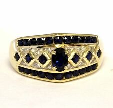 14k yellow gold womens .06ct diamond sapphire ring ladies 6.4g estate vintage