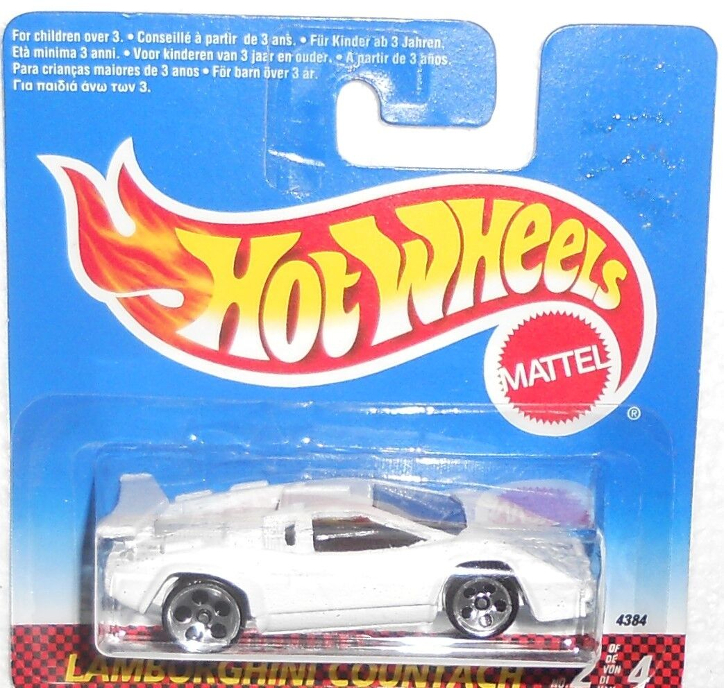 Hot Wheels Hunt (1) 1996 LAMBORGHINI COUNTACH sur International Short Card (Comme neuf sur Comme neuf Card)