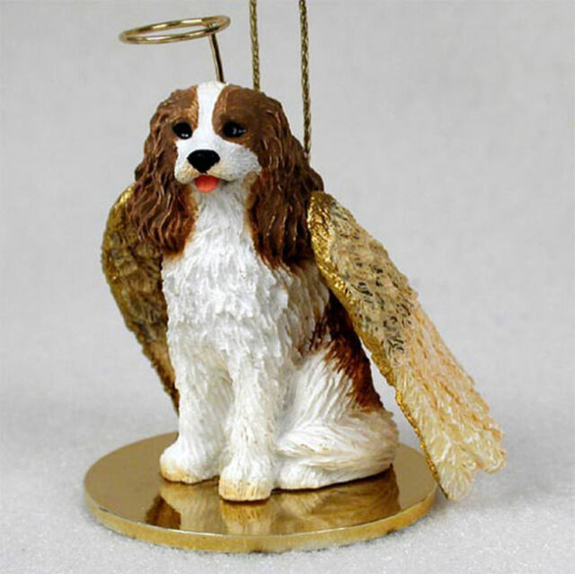 Cavalier King Charles Dog Figurine Ornament Angel Statue Hand Painted Brown