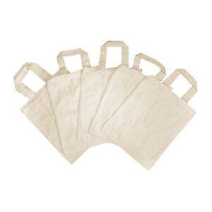 Tragetasche-Baumwolle-natur-klein-22x27-cm-5-Stueck-Stofftasche-Baumwollbeutel