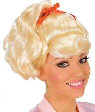 Perruque queue de cheval couette frange blonde Olivia Sandy Grease retro