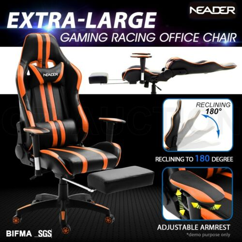 Ergonomic PU Leather Gaming Racing Office Computer Chair wRetractable Footrest