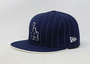 New-Era-59Fifty-Hat-Mens-MLB-Los-Angeles-Dodgers-Royal-Blue-White-Pinstripe-Cap