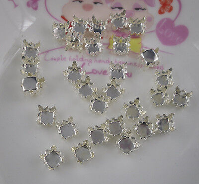 500pcs round Jewels's silver empty claw Settings For glass rhinestones Sewing On