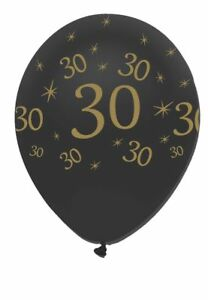 6-x-Black-amp-Gold-Latex-Balloons-30-Adults-30th-Birthday-Party-Decoration-Helium