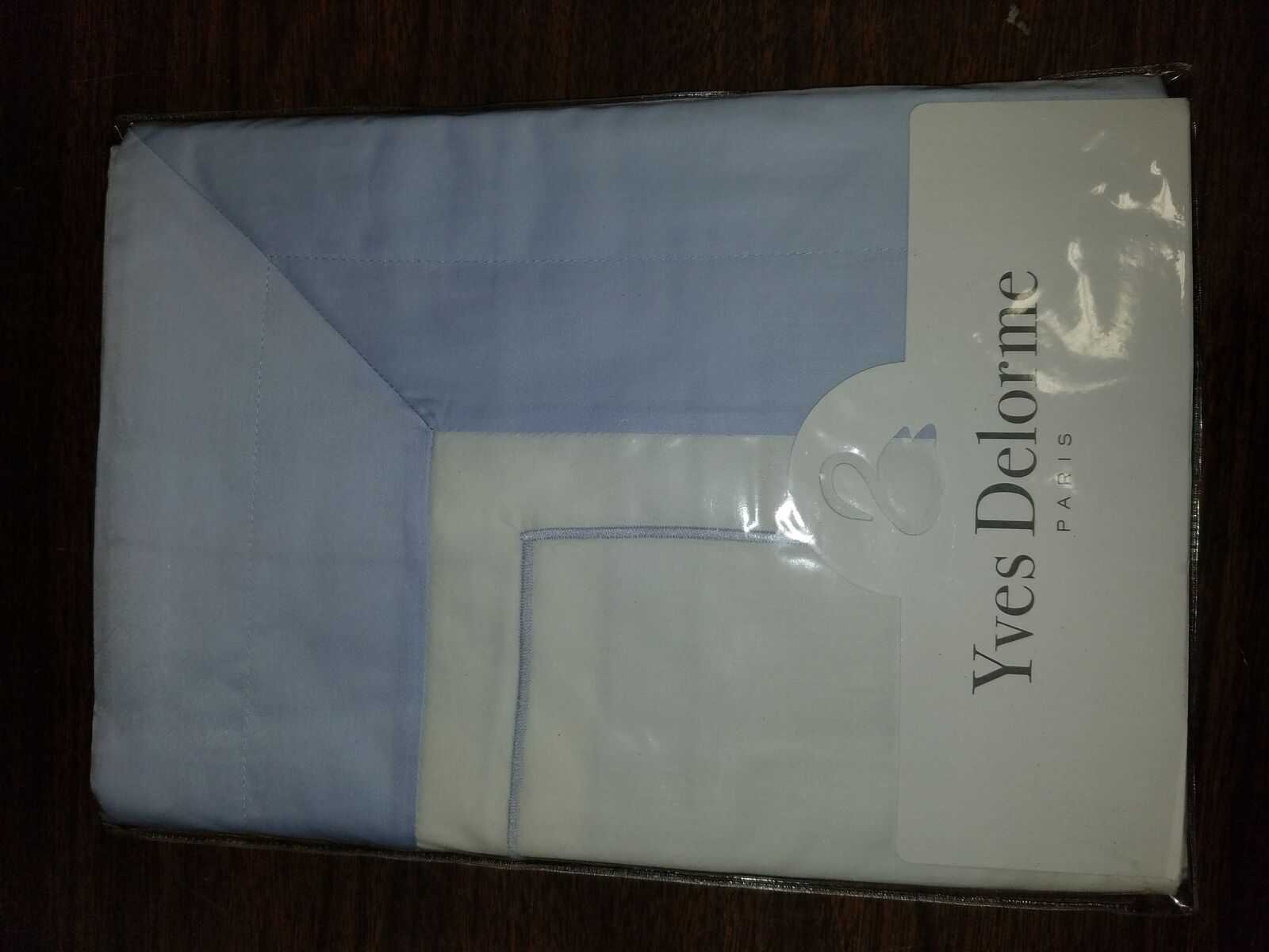 FRANCE YVES DELORME LUTECE WHITE COTTON SATEEN PILLOWCASE COLOR FLANGE Opalia