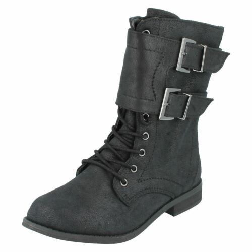 Girls H5025 Black textile lace up//zip up boots by spot on £ 14.99