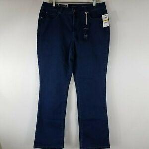Charter-Club-Women-039-s-Blue-Denim-Jeans-Size-14-Short-Dark-Wash-Prescot-Boot-Leg