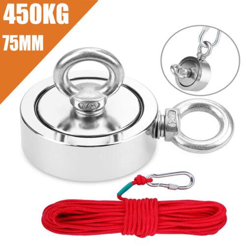 150//200//450KG Neodym Ösenmagnet Super Stark Fishing Magnets Suchmagnet 20m Seil