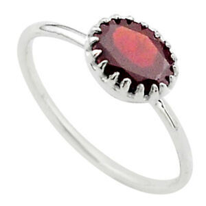 925 Sterling Silver 2.21cts Solitaire Natural Red Garnet Oval Ring Size 9 T40957