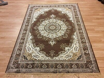 washable Large Brown Traditional Persian Oriental Silk Like Rug 160x230cm 60%OFF