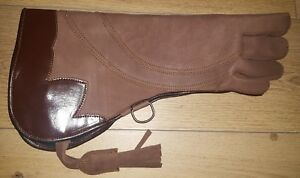 Eagle-Falconry-amp-Owl-Right-Hand-Glove-3-Layer-Nubuck-Leather-16-034-Dull-Brown