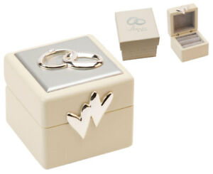 New Amore Double Wedding Ring Box Holder Cushion Two Hearts Keep
