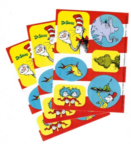 DR SEUSS The Cat in Hat GRINCH Thing One Two Green Eggs Ham 3 Sheets Stickers!