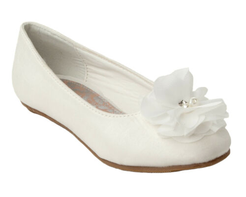 GIRLS IVORY SATIN WEDDING BRIDESMAID PARTY COMMUNION PUMPS SHOES UK SIZE 13-5