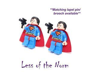 Superman Super-héros Boutons De Manchette Boutons De Manchette Argent Nouveauté Dc Comics Mariage-afficher Le Titre D'origine