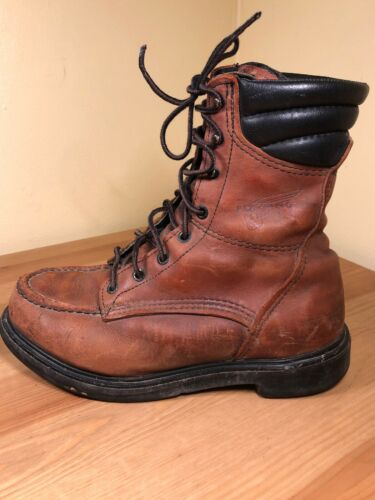 VTG RED WING 402 RED BROWN LEATHER MOC TOE LOGGER