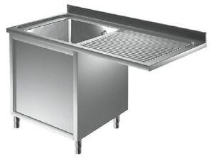 Lavello lavatoio acciaio inox su mobile 1vasca sx vano lavastoviglie cm120x60x85 ebay - Mobile per lavastoviglie ...