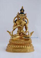 "Hand Carved Face Painted 9.75"" Vajrasattva DorjeSempa Gold Gilded Copper Statue"