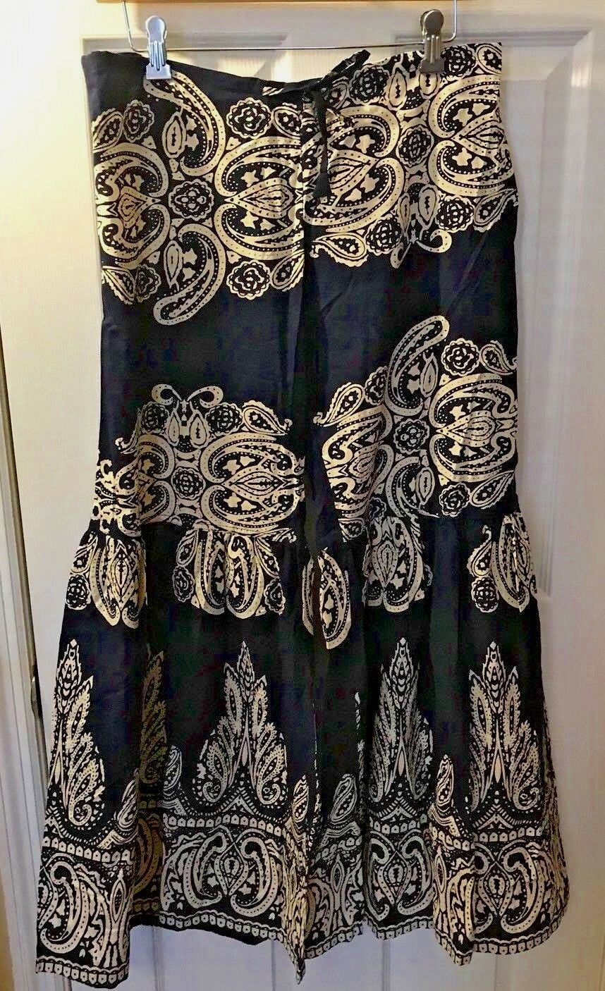 New Womens INDIAN TROPICAL Festival Pants Paisley bluee Ivory Flare Bell Leg Wide