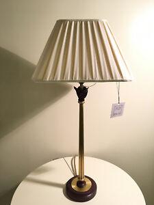 Lampada Da Tavolo In Ottone Anticato Paralume In Seta Baga Nuovo Ebay