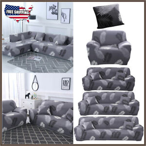 Details about 1/2/3/4Seater L-Shape Anti-slip Sofa Cover Removable Stretch  Sectional Slipcover