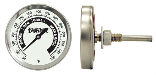 Bayou Classic 500-580 Stainless BBQ Smoker Grill Temperature Gauge Clam Shell