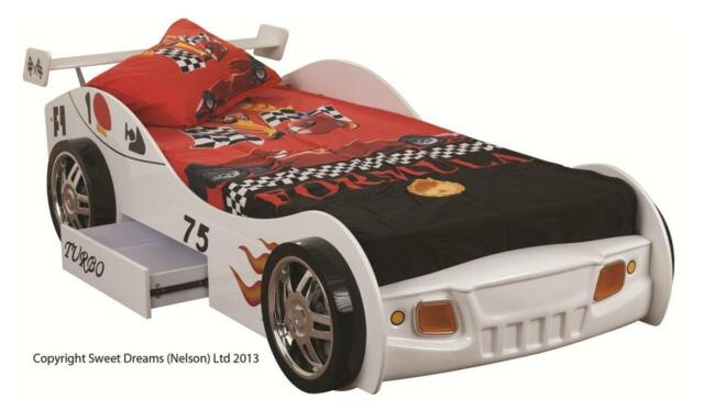White Sonic Turbo Racer Sweet Dreams Childrens Racing Car Single Bed Frame