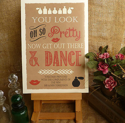 A4 VINTAGE rustic kraft card style TOILETRY SIGNS guests WEDDING comfort basket
