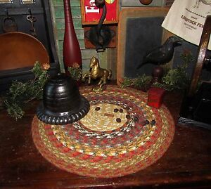 Primitive-Vtg-Style-Country-Farmhouse-BRAIDED-Candle-Trivet-LARGE-ROUND-MAT-300