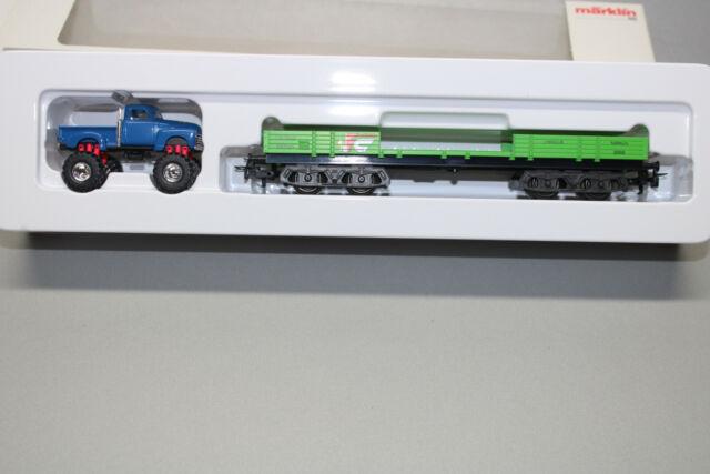 Märklin 44731 4-Achser Wagon à Bords Bas avec Monster Truck Échelle H0 Ovp
