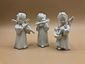 Vintage-Set-of-3-Goebel-White-3-25-Musical-Angels-Flute-Violin-Drum-Figurines